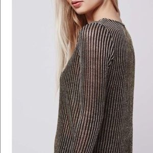 Topshop Metallic Knit Top